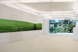helles Büro mit länglichem Fotokunstwerk